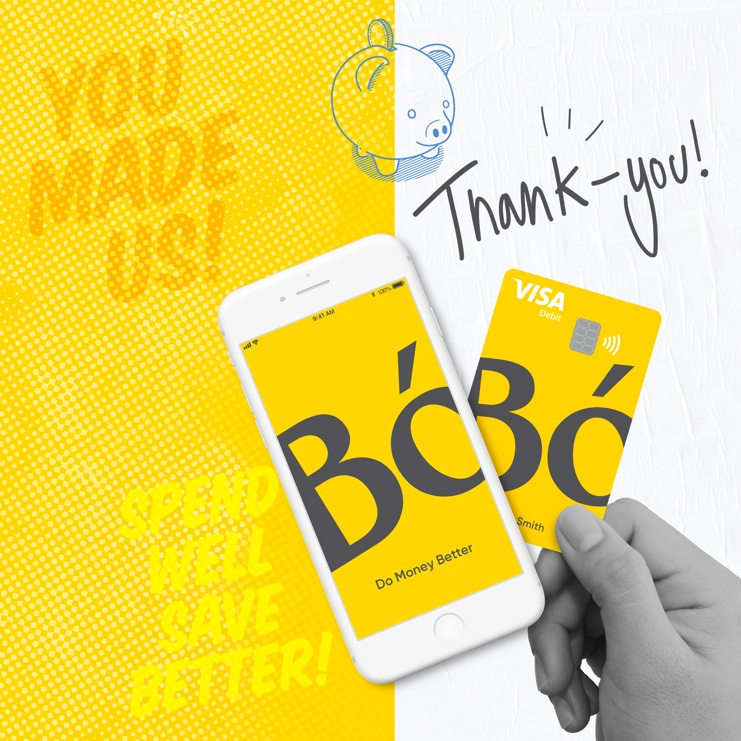 a banner image with a thank you message from Bó and an illustration of a piggy bank